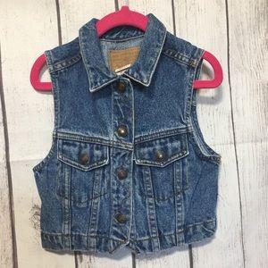 Levis Blue Jean Vest Toddler Girls 4T White Tab